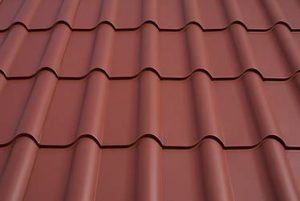 Close up of Interlock Mediterranean Tile roofing system.